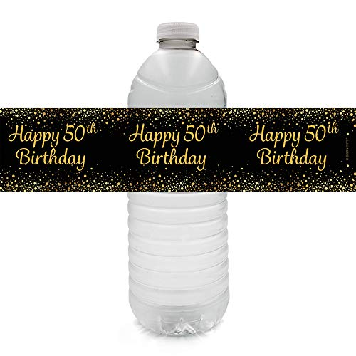 Black and Gold 50th Birthday Party Water Bottle Labels - 24 Stickers