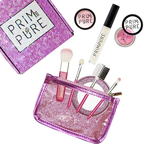 Prim and Pure Kids Glitter Cosmetic Mineral Makeup Play Set Bundle with Brushes and Mirror (Pink)