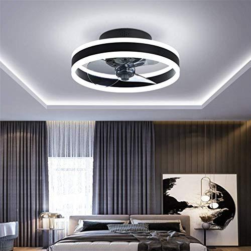 Deckenventilator mit Ventilator, leiser Deckenventilator mit Beleuchtung und Fernbedienung Ultradünne 16,5-cm-Deckenleuchten 24-W-dimmbare Ventilator-Pendelleuchte, Schwarz