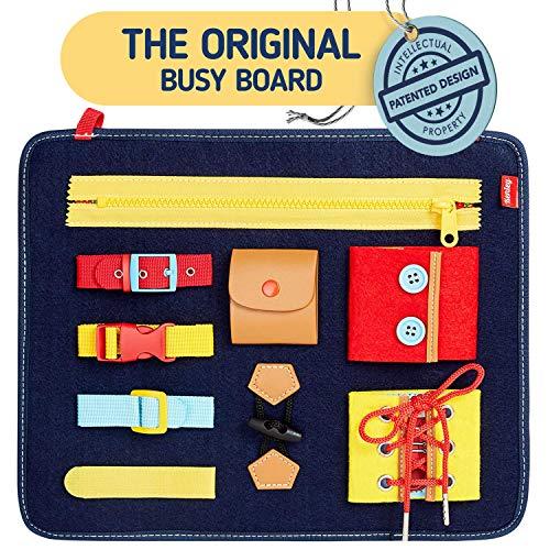 Montessori Spielzeug - Busy Board Motorikbrett für Fertigkeiten und Selbst Anziehen - Baby Motorikspielzeug für Jungen und Mädchen 1 2 3 4 Jahre - Motorik Lernspielzeug mit Schnallen und Verschlüssen