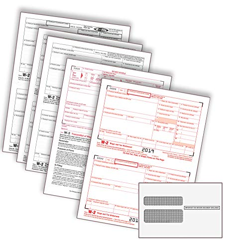 2019 Laser Tax Forms - W-2 Income (4-Part Set) & Self Seal Envelope Kit for 25 Employees - Park Forms