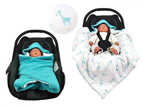 Manta para el saco portabebés para los días fríos en diferentes colores de HOBEA-Germany turquesa con jirafa