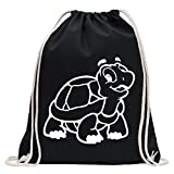 KIWISTAR - Schildkröte Turnbeutel Fun Rucksack Sport Beutel Gymsack Baumwolle mit Ziehgurt
