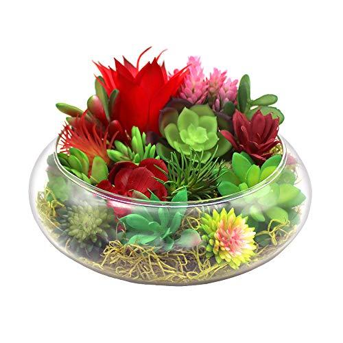 NW Wholesaler Kit completo de suculenta sintética con jarrón de vidrio poco profundo de 20,32 cm, suculentas artificiales coloridas y musgo de color (cuenco cálido para atardecer)