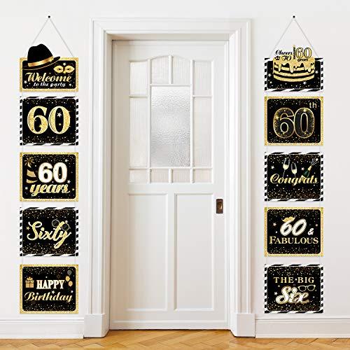 Große Happy Birthday Zeichen Ausschnitte Banner Geburtstag Jubiläum Dekoration Party Lieferung Türschild Geburtstag Thema Party Wand Dekoration Zeichen 10 Zählt (60 Jahre)