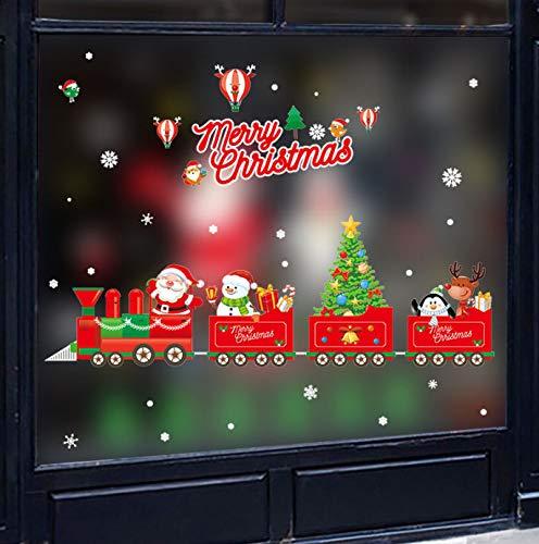 Dibujos animados tren rojo decoración navideña pegatinas de pared de Papá Noel muñeco de nieve pegatina para ventana Año Nuevo decoración del hogar impermeable