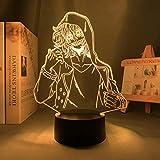 Lámpara de noche 3D Anime Shigaraki Tomura Lámpara 3D My Hero Academia LED Night Light for boy Kids Bedroom Decor Shigaraki Tomura Birthday Gift Table lámpara de regalo de Navidad 7 colores Touch