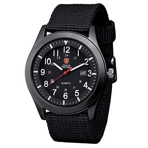 Herrenuhr ZEIGER Quarz Armbanduhr Sportlich Herrenuhren Analog Datum Schwarz Blau Grün (Schwarz)