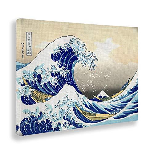 Giallobus - Bild - Druck AUF LEINWAND - Hokusai - DIE Grosse Welle VON Kanagawa - 100 x 140 cm