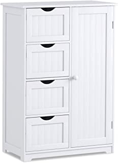 Giantex Bathroom Floor Cabinet Wooden with 1 Door & 4 Drawer, Free Standing Wooden Entryway Cupboard Spacesaver Cabinet, White