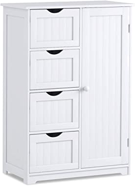 Giantex Bathroom Floor Cabinet Wooden with 1 Door & 4 Drawer, Free Standing Wooden Entryway Cupboard Spacesaver Cabinet, Whit