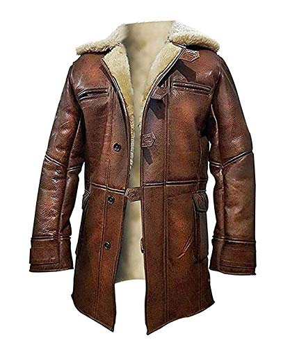 BFS Apparels Tom Hardy - Abrigo de piel de oveja, color marrón