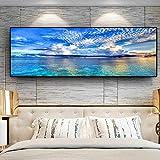 NLZNKZJ Natürlicher Sonnenuntergang könnte See Landschaft Poster und Drucke, Leinwand Gemälde Mediterran Wandkunst Bild für Wohnzimmer 50x150cm ohne Rahmen