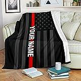 Personalized Custom Firefighter Blanket Fleece Blanket - Firefighter Room Decor - Fleece Throw Blanket -Firefighter Gift, Decorative Thow Blanket (LL-VHA11, L (6080))