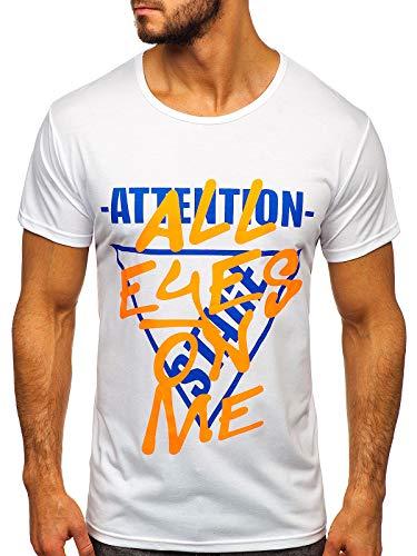 BOLF Hombre Camiseta de Manga Corta Escote Redondo Dise?o Camuflaje Camiseta de Algodón Estilo Diario J.Style KS1995 Blanca XXL [3C3]