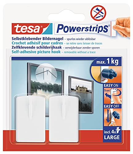 tesa Powerstrips, Ganci autoadesivi per quadri, 2 pz, Bianco