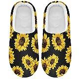 Linomo Pantuflas con diseño de flores de girasol para mujer, para casa, para interiores, zapatos de casa, zapatos de dormitorio, multicolor, 47/48 EU