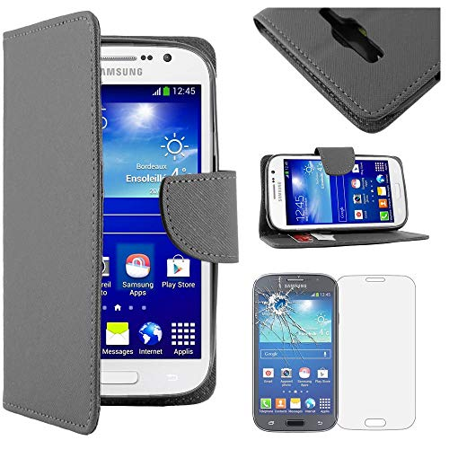 "ebestStar - Funda Compatible con Samsung Grand Plus Galaxy GT-i9060I, Grand Lite Carcasa Cartera Cuero PU, Funda Ranuras Tarjeta Stand, Negro + Cristal Templado [Aparato: 143x77.1x9.6mm 5.0""]"