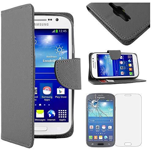 ebestStar - Funda Compatible con Samsung Grand Plus Galaxy GT-i9060I, Grand Lite Carcasa Cartera Cuero PU, Funda Ranuras Tarjeta Stand, Negro + Cristal Templado [Aparato: 143x77.1x9.6mm 5.0