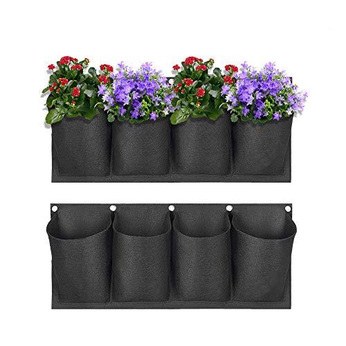VASZOLA - Juego de 2 bolsas de plantación de pared de jardín, resistente al agua, de fieltro grande, vertical, para colgar en la pared, maceta para decoración de exteriores y el hogar, 4 bolsillos.
