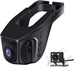 Samjat FHD 1080P Dash Cam WiFi Front and Rear Dual Camera Mini Hidden Dashboard for Cars Driving Recorder DVR with Night Vision, G-Sensor, Parking Mode, WDR,Novatek 96658 Sony IMX323