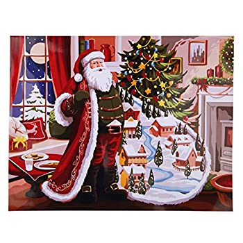 PLAZALA Paint by Number Santa Claus for Adults Kids Christmas Decoration DIY Paint Canvas Painting Kit for Beginners Drawing Home Living Room Bedroom Decoration Christmas 16x20 Inch