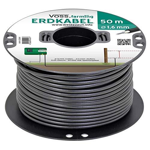 VOSS.farming Câble Haute Tension enterrable pour clôture électrique, 50 m, Noyau en cuivre, Extra Flexible