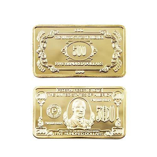 Barra de oro americana chapada en oro de 24k 500 dólares Artesanías de metal con tiras falsas americanas Recuerdos de billetes de 500 dólares americanos