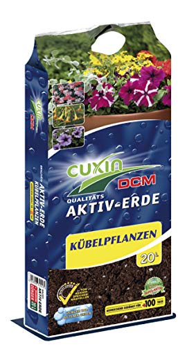 Cuxin Pflanzerde für Kübel und Balkonkästen ⎜40 L ⎜mit Wasserspeicher und 100 Tage Dünger⎜Kübelpflanzen und Balkonpflanzen