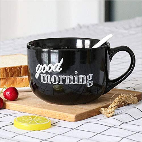 Groß Suppenschüssel Kaffeetasse Mit Henkel, Mikrowelle Suppentasse Keramik Getreide Frühstückstasse Breiter Mund Milchbecher Kaffeebecher Teetasse-Schwarz-600ml/20.3oz