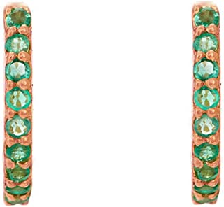 Gehna 18KT Rose Gold, Emerald and Hoop Earrings for Women