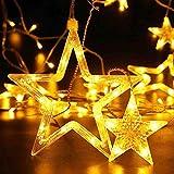 138 LED stella, String luci di Natale all aperto sospese vintage tavolo interno fata luce per ristorante giardino recinzione pergola decorazione 2,5 m 8,2 ft bianco caldo