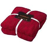 MYLUNE HOME 100% Baumwolle Stilvolle Strickdecke für Fernsehen oder Nap auf dem Stuhl, Sofa und Bet(180x200cm,red)