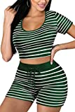 Sportswear for Women Set 2 Piece Yoga Clothes Booty Shorts Green L