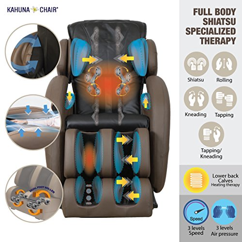 Kahuna Massage Chair LM-6800 + 2 Years Extended Warranty - Space-Saving Zero Gravity Full-Body Recliner with Yoga & Heating Therapy (Black)
