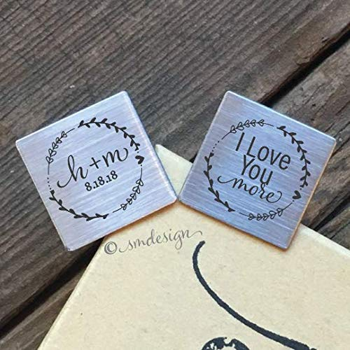 I Love You More Cufflinks- Personalized Gift for Groom from Bride on Wedding