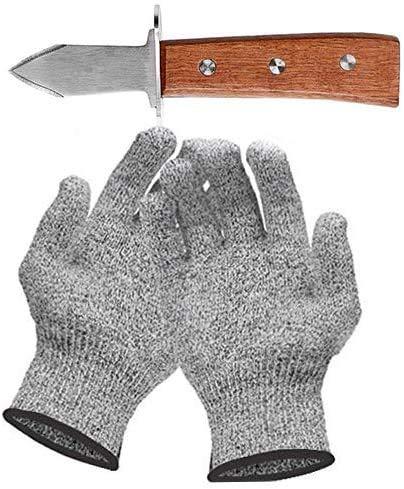 Set con coltello per ostrica e guanti resistenti al taglio, apriscatole e guanti protettivi per conchiglie o formaggio duro, coltello Oyster (cucina, giardinaggio, fai da te) (S)