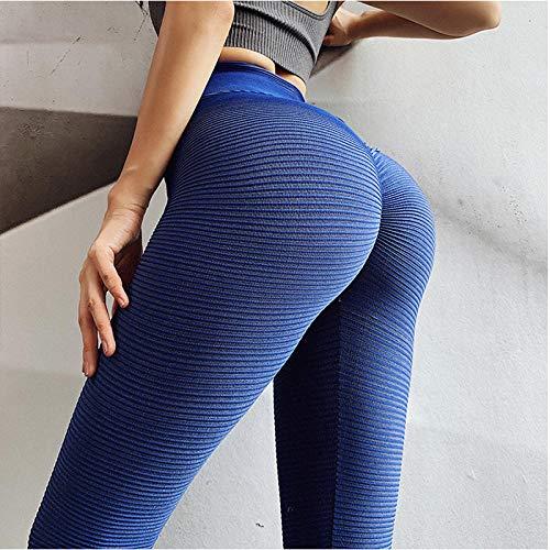 RRUI Panty voor dames, leggings met strepen, elastisch, sneldrogend, hoge taille, nauwe mond, sportbroek, oranje, maat M.
