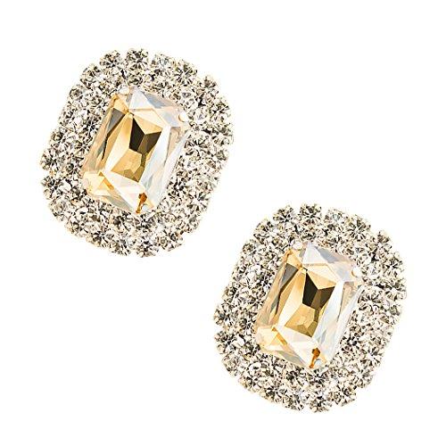 Tooky - Juego de dos broches de gemas y cristales para zapatos, extraíbles Light Champagne