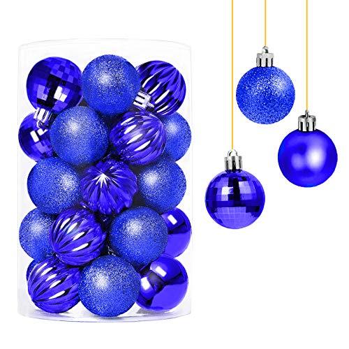 Decorazioni Natalizie 34 Pezzi Palle di Natale, Tradizionale Blu Infrangibile Palle per Albero di Natale per la Decorazione Dell'Albero di Natale (34 / Confezione,40mm,Blu)