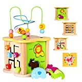 Baby Small Activity Cube Toys 6-in-1 Play Center Wooden Bead Maze Animal Shape Sorter Clock Learning Developmental Montessori Toysfor 1 2 Year Old 12 Month Infant Toddler Kids Boy Girl Easter Gift