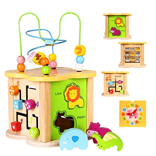 Baby Small Activity Cube Toys 6-in-1 Play Center Wooden Bead Maze Animal Shape Sorter Clock Learning Developmental Montessori Toys Gifts for 1 2 Year Old 12 Month Infant Toddler Kids Boy Girl