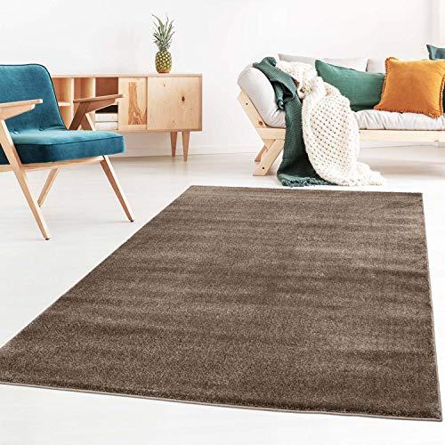 Taracarpet Kurzflor-Designer Uni Teppich extra weich fürs Wohnzimmer, Schlafzimmer, Esszimmer oder Kinderzimmer Gala braun 150x150 cm