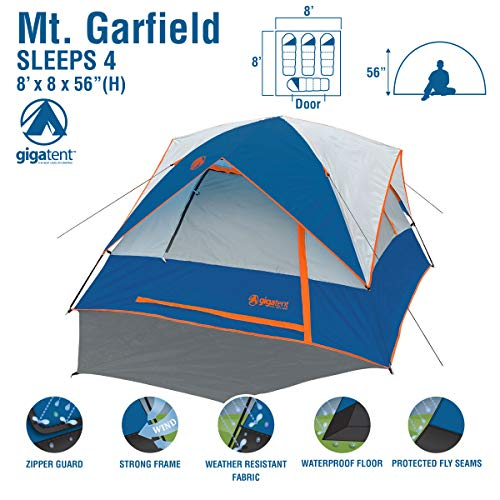 GigaTent Garfield MT64 Free Standing Family Dome Tent, 8 x 8-Feet x 56-Inch