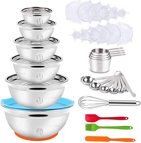 YUNLAN Mixing Bowl Set, 35PCS Kitchen Utensils With Stainless Steel Nesting Bowls, Measuring Cups And Spoons, 12 Reusable Silicone Stretch Covers, Non-slip Mats, Egg Beater Baking Trays, mixing bowl