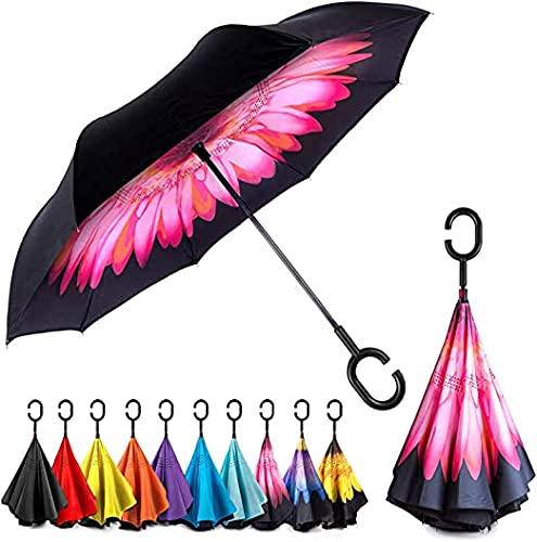 EEZ-Y Inverted Umbrella with C-shaped Handle for Men & Women, Windproof and Water Resistant Umbrella - Big Umbrellas for Rain