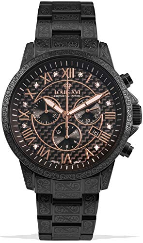 LOUIS XVI Herren-Armbanduhr Palais Royale Stahlband Schwarz Karbon echte Diamanten Römische Zahlen Chronograph Analog Quarz Edelstahl 1020