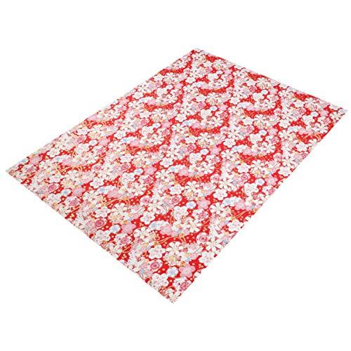 HEALLILY Flor Japonesa Tela de Costura Floral Hoja de Tela Diy Patchwork Acolchar Paquetes de Tela Hecha a Mano Flor Tela de Costura 1M Rojo