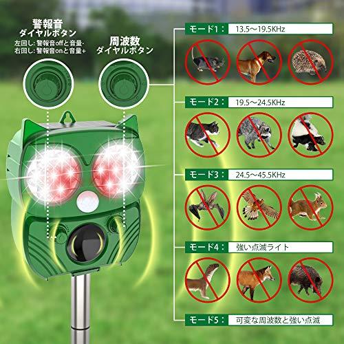 Dasimon猫よけ動物撃退器害獣撃退器超音波ソーラー&USB充電式2400mAh大容量10時間連続使用可警報音五段階超波調節13.5~28.5KHz超音波スピーカー搭載PIR赤外線センサー110°9.5m感知範囲LED強力フラッシュライト5モード感知範囲調節可設置簡単挿し込むと壁掛け型IPX4防水防塵猫よけグッズネコ駆除野良猫忌避野良犬退治猪防止鳥害