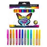 ZJL220 12 colores Glitter Highlighter Pen Fluorescente Marker Set DIY Diario Graffiti Dibujo Scrapbooking Papelería Escuela Suministros